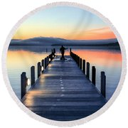 Morning Pier Round Beach Towel