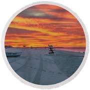 Morning Red Sky At Cape May New Jersey Round Beach Towel