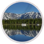 Morning Reflection Boats On Colter Bay Round Beach Towel