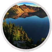 Morning Reflection On Crater Lake Round Beach Towel by John Hight
