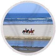 Morning Ride Round Beach Towel