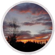 Morning Silhouetted - 1 Round Beach Towel
