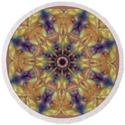 10300 Morning Sky Kaleidoscope 01a Round Beach Towel