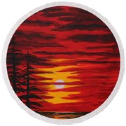 Morning Sky Round Beach Towel