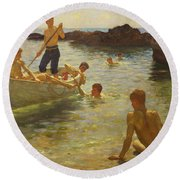 Morning Splendour Round Beach Towel by Henry Scott Tuke