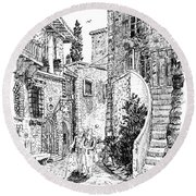 Morning Stroll In Montefioralle Tuscany Round Beach Towel