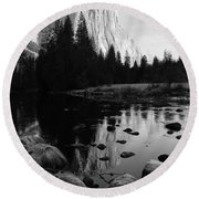 Morning Sunlight On El Cap - Black And White Round Beach Towel
