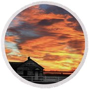 Morning Sunrise 2-14-2011 Round Beach Towel
