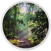 Morning Sunshine On The Appalachian Trail Round Beach Towel