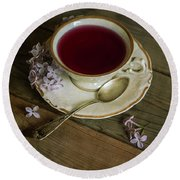 Morning Tea With Lilacs Round Beach Towel