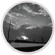Morning Train In Black And White Round Beach Towel