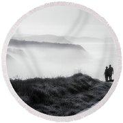 Morning Walk With Sea Mist Round Beach Towel