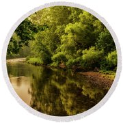 Morning Warmth Williams River  Round Beach Towel