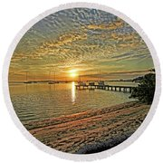 Mornings Embrace Round Beach Towel