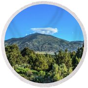 Morning View Of Albion Mountains Round Beach Towel