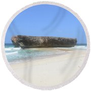 Moro Rock Formation On The Island Of Aruba Round Beach Towel