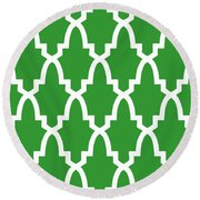 Moroccan Arch With Border In Dublin Green Round Beach Towel