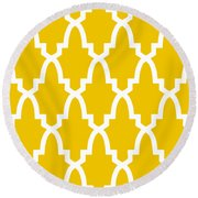 Moroccan Arch With Border In Mustard Round Beach Towel