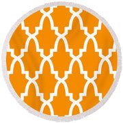 Moroccan Arch With Border In Tangerine Round Beach Towel