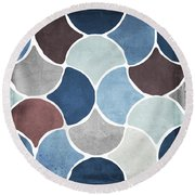 Moroccan Blues  Round Beach Towel