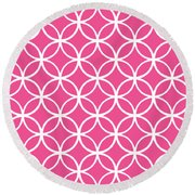 Moroccan Endless Circles I With Border In French Pink Round Beach Towel
