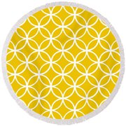 Moroccan Endless Circles I With Border In Mustard Round Beach Towel