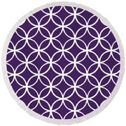 Moroccan Endless Circles I With Border In Purple Round Beach Towel