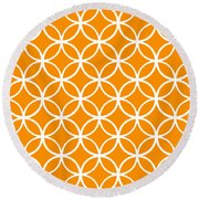 Moroccan Endless Circles I With Border In Tangerine Round Beach Towel