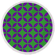 Moroccan Endless Circles II With Border In Dublin Green Round Beach Towel