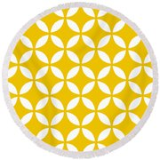 Moroccan Endless Circles II With Border In Mustard Round Beach Towel