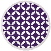 Moroccan Endless Circles II With Border In Purple Round Beach Towel