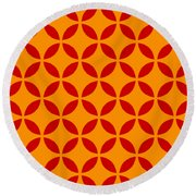 Moroccan Endless Circles II With Border In Tangerine Round Beach Towel