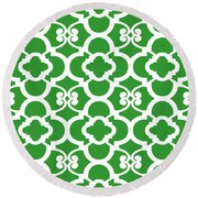 Moroccan Floral Inspired With Border In Dublin Green Round Beach Towel