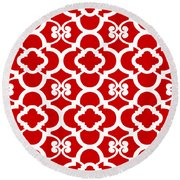 Moroccan Floral Inspired With Border In Red Round Beach Towel
