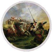 Moroccan Horsemen In Military Action Round Beach Towel by Ferdinand Victor Eugene Delacroix