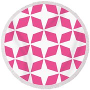 Moroccan Inlay With Border In French Pink Round Beach Towel