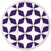 Moroccan Inlay With Border In Purple Round Beach Towel