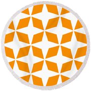 Moroccan Inlay With Border In Tangerine Round Beach Towel
