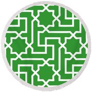 Moroccan Key With Border In Dublin Green Round Beach Towel