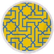Moroccan Key With Border In Mustard Round Beach Towel