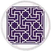 Moroccan Key With Border In Purple Round Beach Towel