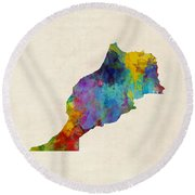 Morocco Watercolor Map Round Beach Towel by Michael Tompsett