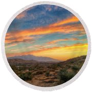 Morongo Valley Sunset Round Beach Towel