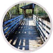 Morris Bridge Boardwalk Round Beach Towel