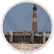 Morris Island Lighthouse Sea Wall Round Beach Towel