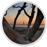 Morris Island Lighthouse Sunrise 2 Round Beach Towel
