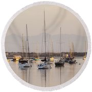 Morro Bay Boats In Early Morning Light   Round Beach Towel