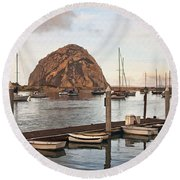 Morro Bay Small Pier Round Beach Towel