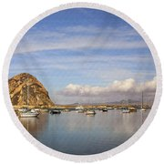 Morro Harbor And Rain Clouds Round Beach Towel