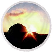 Morro Rock At Sunset Round Beach Towel